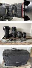 Canon 350D body met 5 objectieven en cameratas