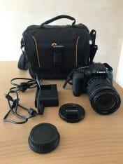 Canon EOS 750D body + lens + cameratas