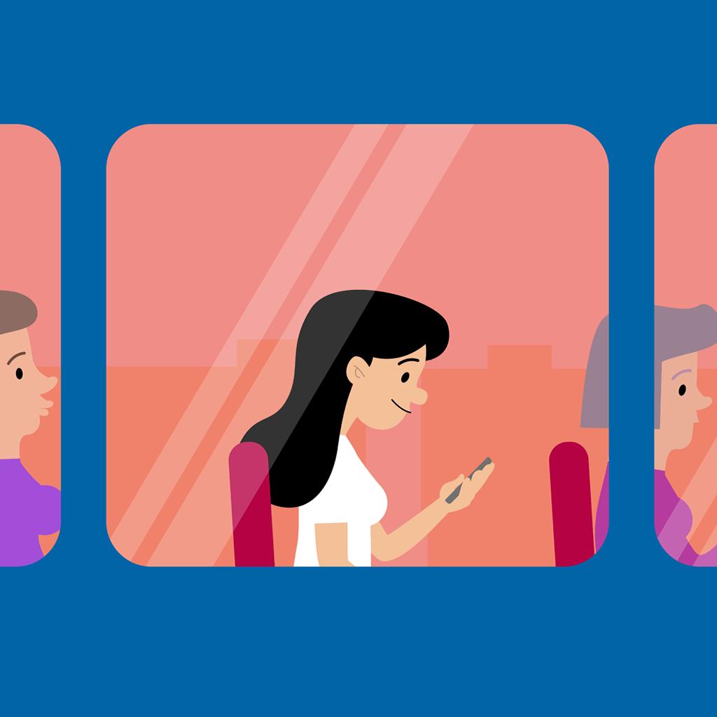 tegning af kvinder, der kigger på sin telefon i en bus