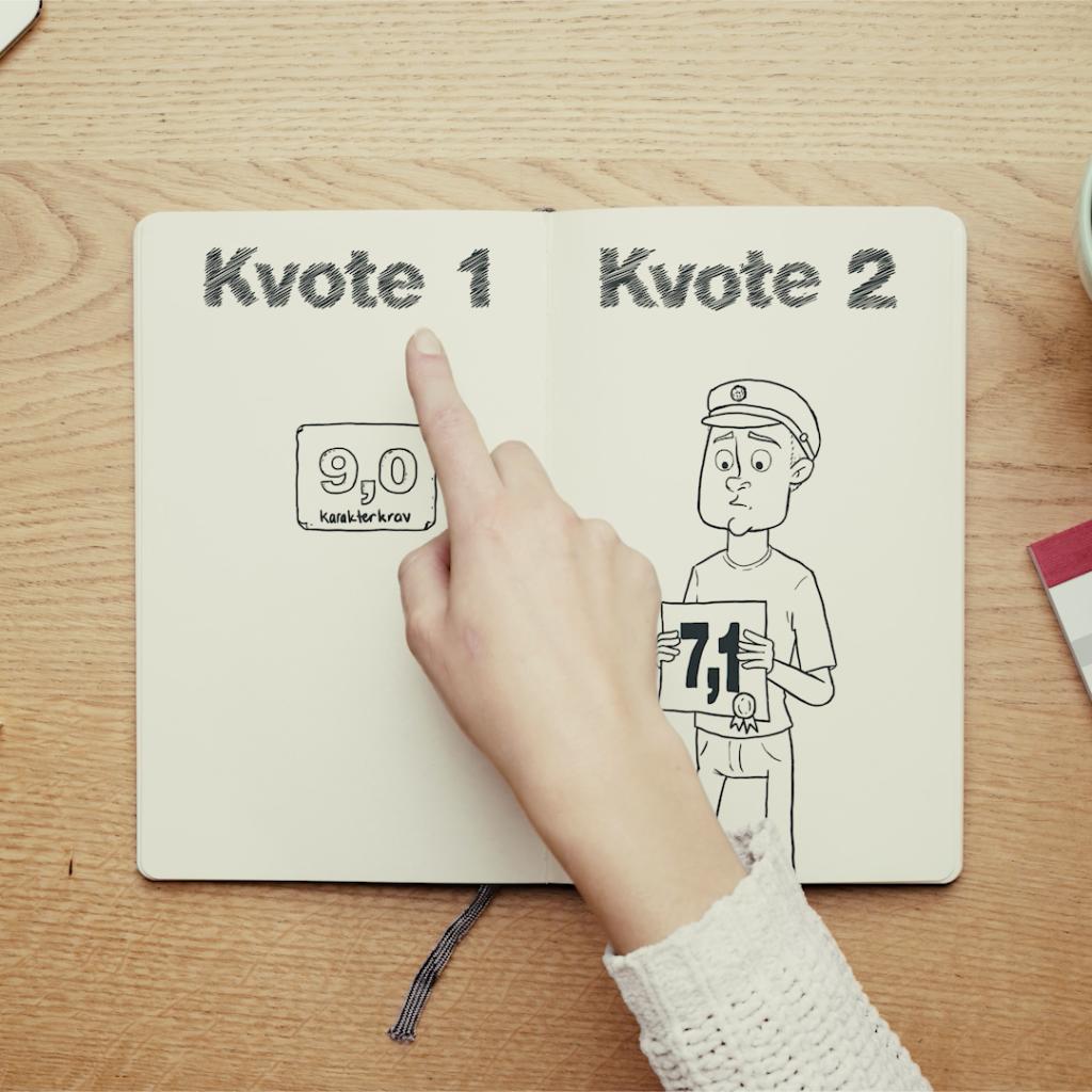 screenshot fra filmen, der viser en hånd, der peger på en tegning af en studerende