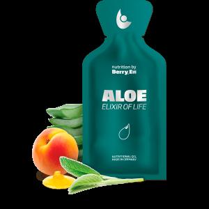 Berry En flydende kosttilskud -Styrk immunforsvaret med den grønne Aloe gel fra Berry.En. Viser aloe vera, abrikos, salvie og blomsterhonning og en gelpakke på 25g.