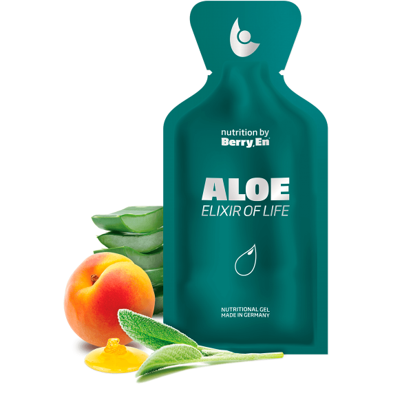 Styrk immunforsvaret med den grønne Aloe gel fra Berry.En. Viser aloe vera, abrikos, salvie og blomsterhonning og en gelpakke på 25g.