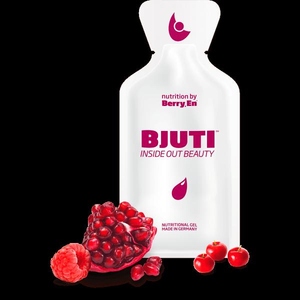 Berry En -Giv din hud elasticitet og spændstighed igen med Bjuti gel kosttilskud fra Berry.En. Viser hindbær, granatæble, acerola kirsebær og en gelpakke på 25g med kollagen i flydende form.