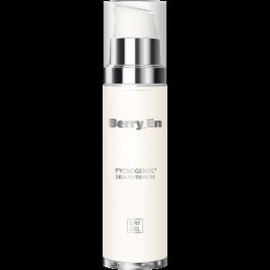Viser en 50 ml Day Gel creme fra Berry En med dispenser. En naturlig hudpleje, der bevarer din huds fugtighed og beskytter den mod giftstoffer.