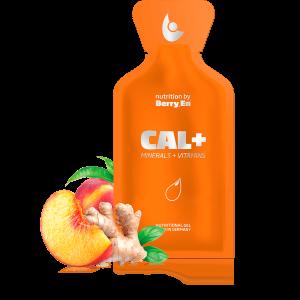 Berry En -få et ekstra tilskud af calcium og magnesium med Cal+ gel kosttilskud fra Berry.En. Viser ingefær, en fersken og en gelpakke på 25g.