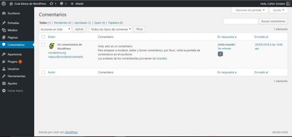 Guía Básica de WordPress 05-Comentarios