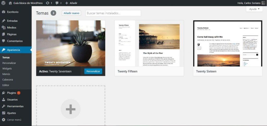 Guía Básica de WordPress 06-Apariencia
