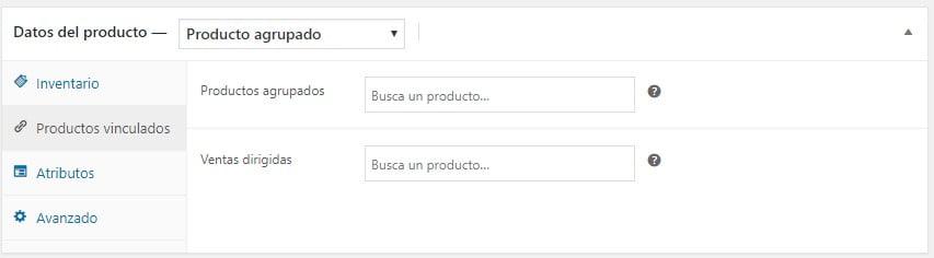 Crear Producto Agrupado-Productos Vinculados