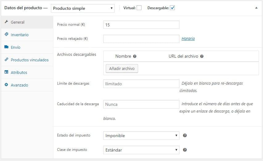Crear un producto simple descargable en WooCommerce