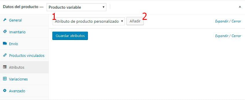 Crear un producto variable en WooCommerce - Atributos