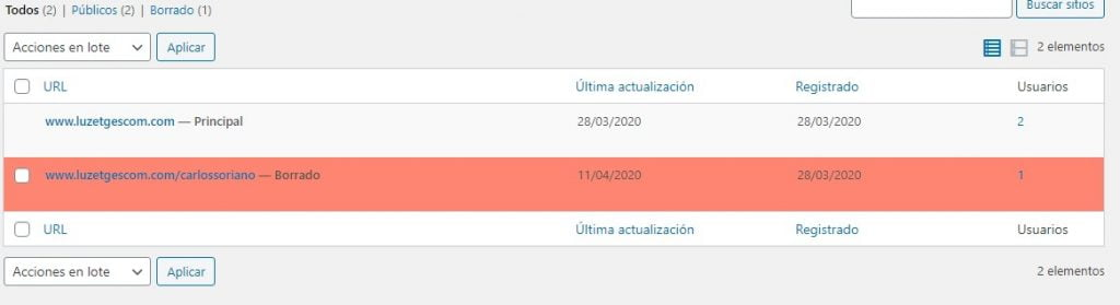 Desactivar el sitio en WordPress Multisite