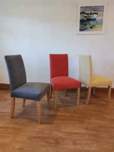 Blue, red & yellow Rampart dining chairs