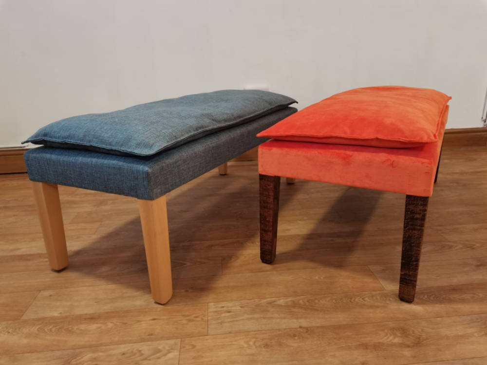 Orange and blue ottoman benches