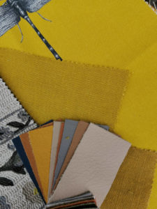 Yellow & mixed fabric swatches