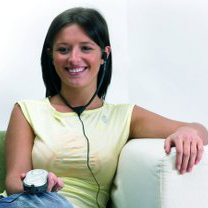 Woman using assistive equipment