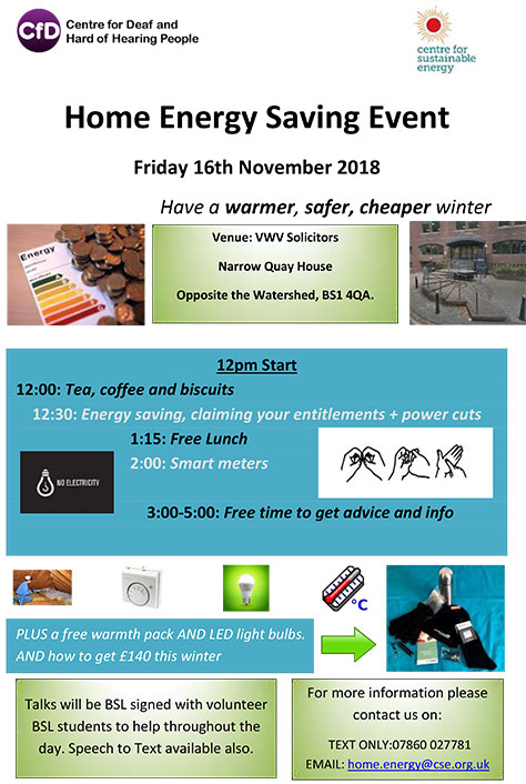 Flyer with details of home energy saving event