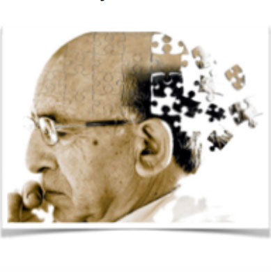 Photo of an older man with head made up of jigsaw pieces