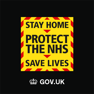 Image of government advice saying Stay Home Protect the NHS Save Lives