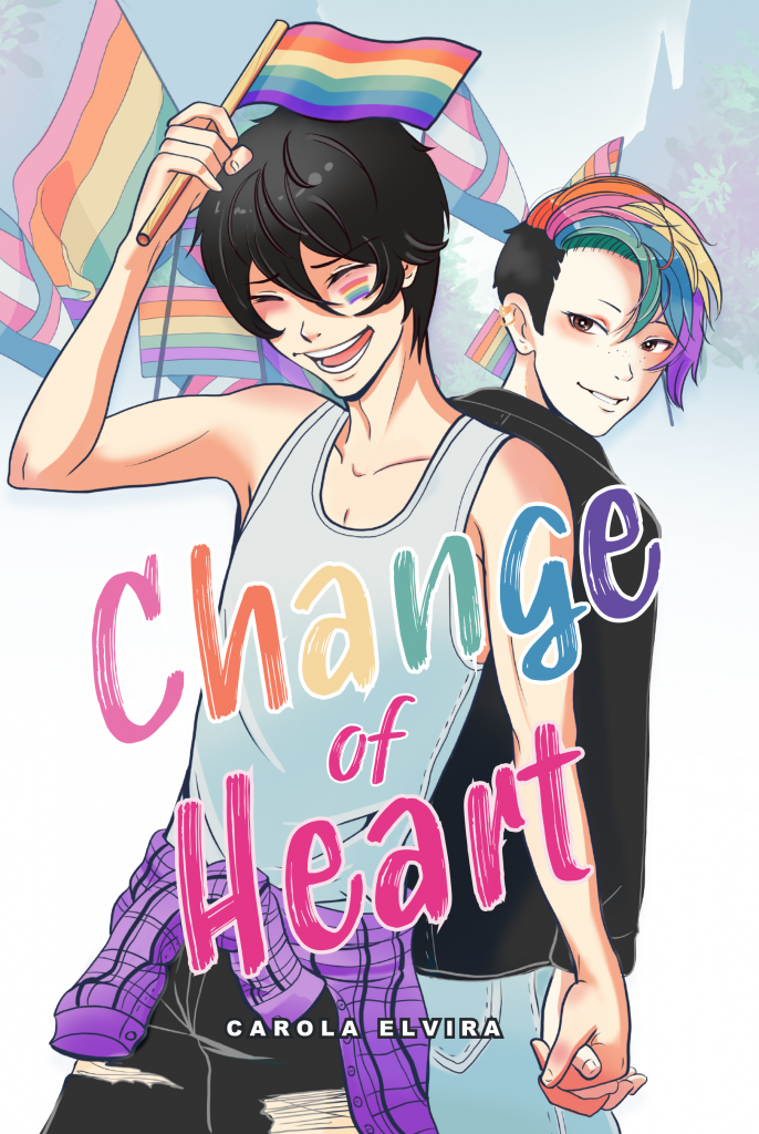 Change of Heart cover art.  Noa grinning widely while waving a rainbow flag in his one hand, his other is claspig Haru's. Haru is looking over Noa's shoulder with a knowing smirk on his face, and his rainbow fringe falling into his face.In the background different pride flags are waving in the wind. Noa is dressed in a light tank top, with ripped jeans and a purple tartan shirt tied around his waist. Haru's wearing a black jacket, and blue jeans.  Splashed across the cover is the title: Change of Heart and the authors name: Carola Elvira.