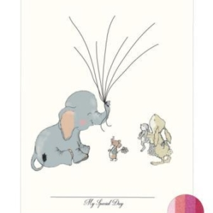 Fingeraftryk/fingerprint elefant pige lyserød