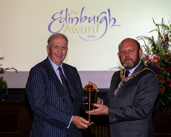 Alexander McCall Smith receiving his Edinburgh Award from Lord Provost Frank Ross