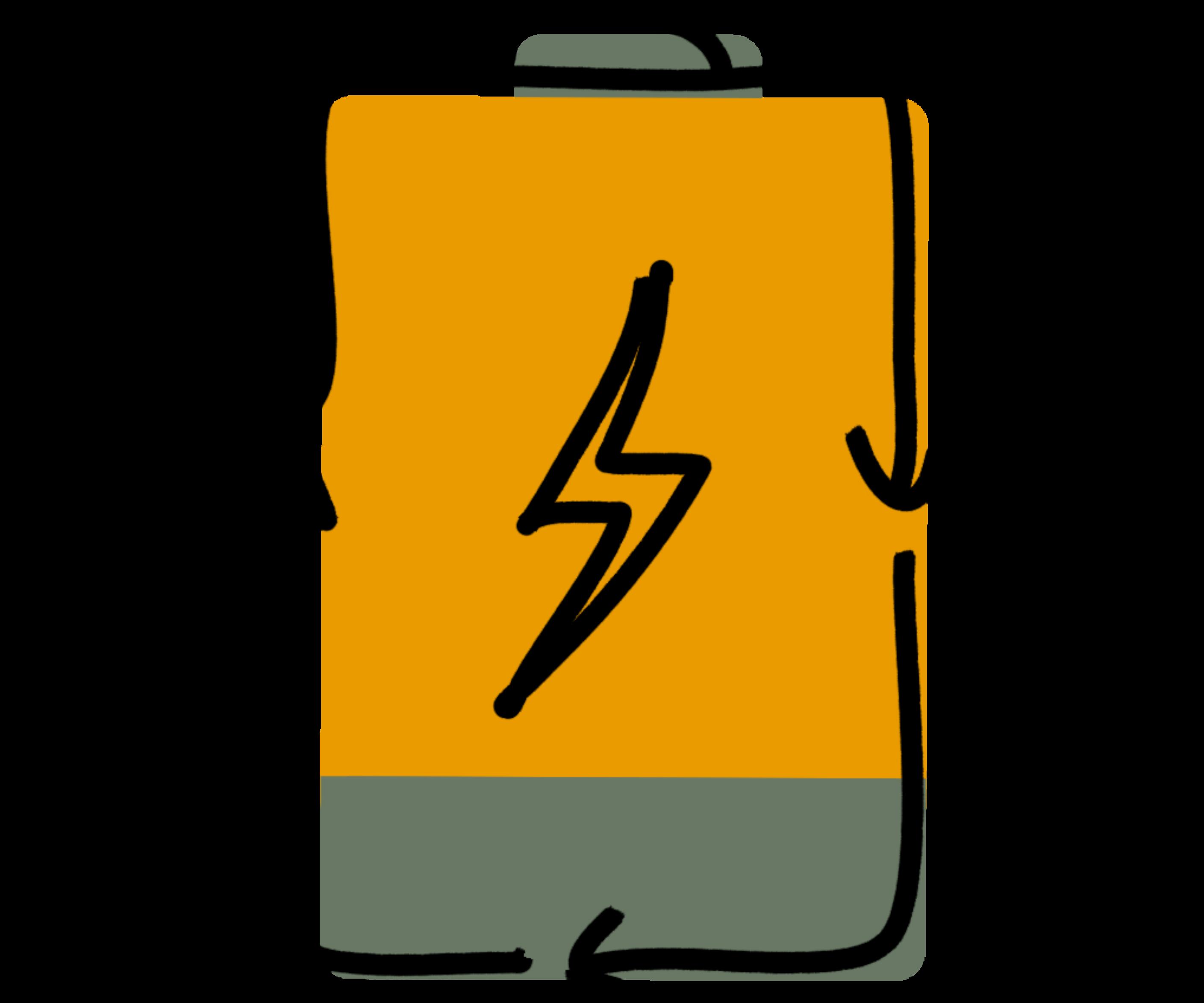 """Tekening van een batterij met recycleerpijltjes als symbool voor """"re-energize"""""""