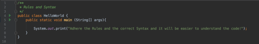 Syntax and Rules in Java
