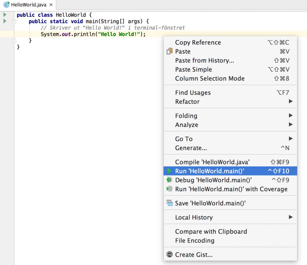 Run Code IntelliJ Java