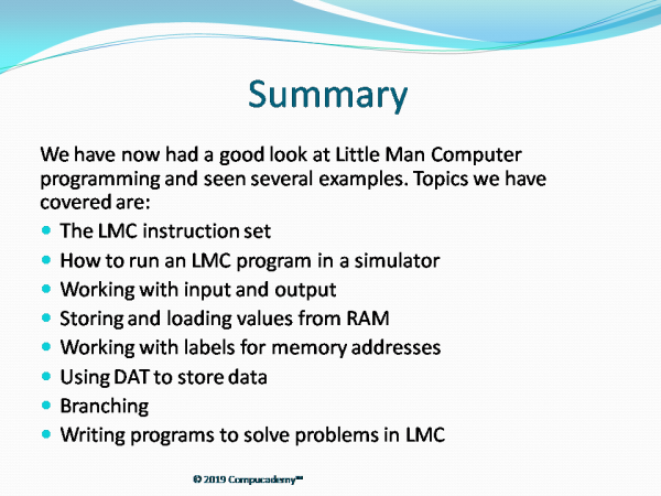 Little Man Computer Programming Teaching Pack Summary