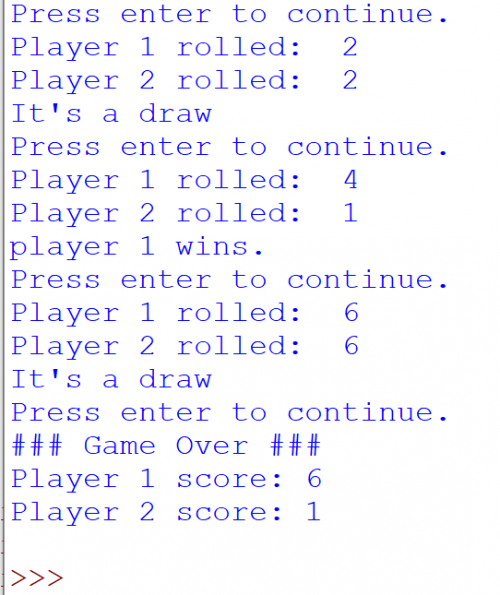 Python Simple Dice Game Output