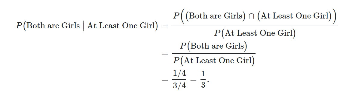 Conditional probability two girls