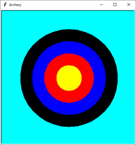 Python Turtle Graphics Circles - Archery Target