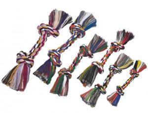Speelgoed multicolor touw hond 2 knopen