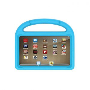 Tablet with blue case