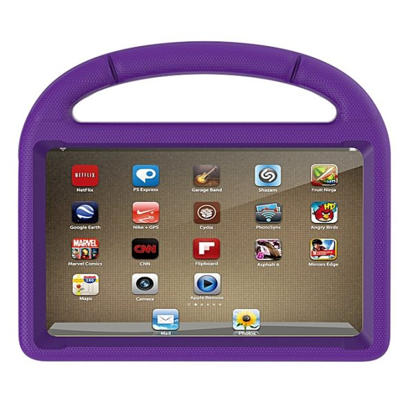 Tablet with purple case