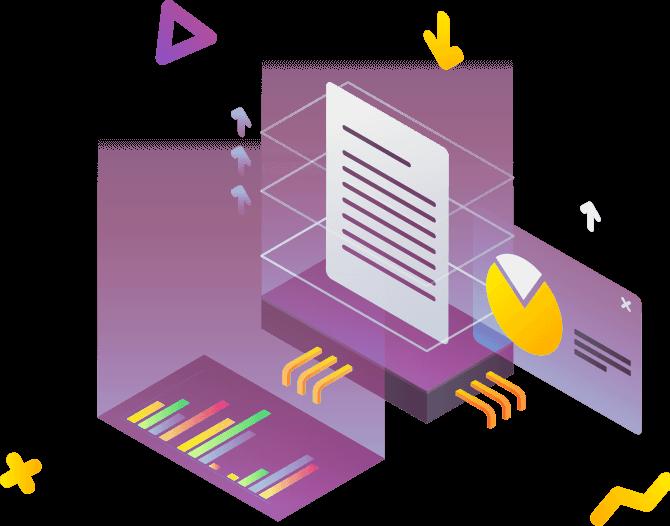 Illustration af interaktiv rapporten elementer