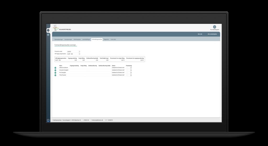 Computeren med HRLønforhandling web-applikation