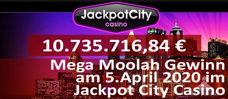 Gewinner am Mega Moolah vom 5. April 2020 im Jackpot City Casino