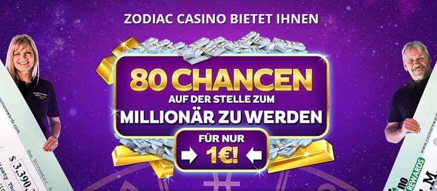 80 Freispiele am Mega Moolah bei Zodiac Casino