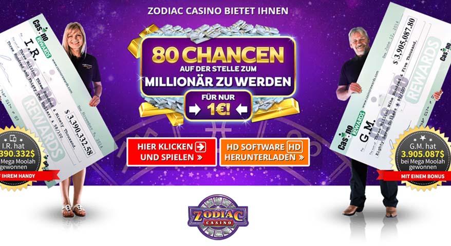Zodiac Casino und der Spielautomat Mega Moolah