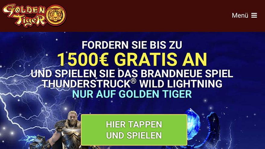 1500€ Bonus Casino bei Golden Tiger