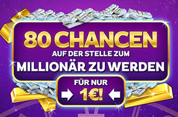 80 Freispiele für 1 € bei Zodiac Casino