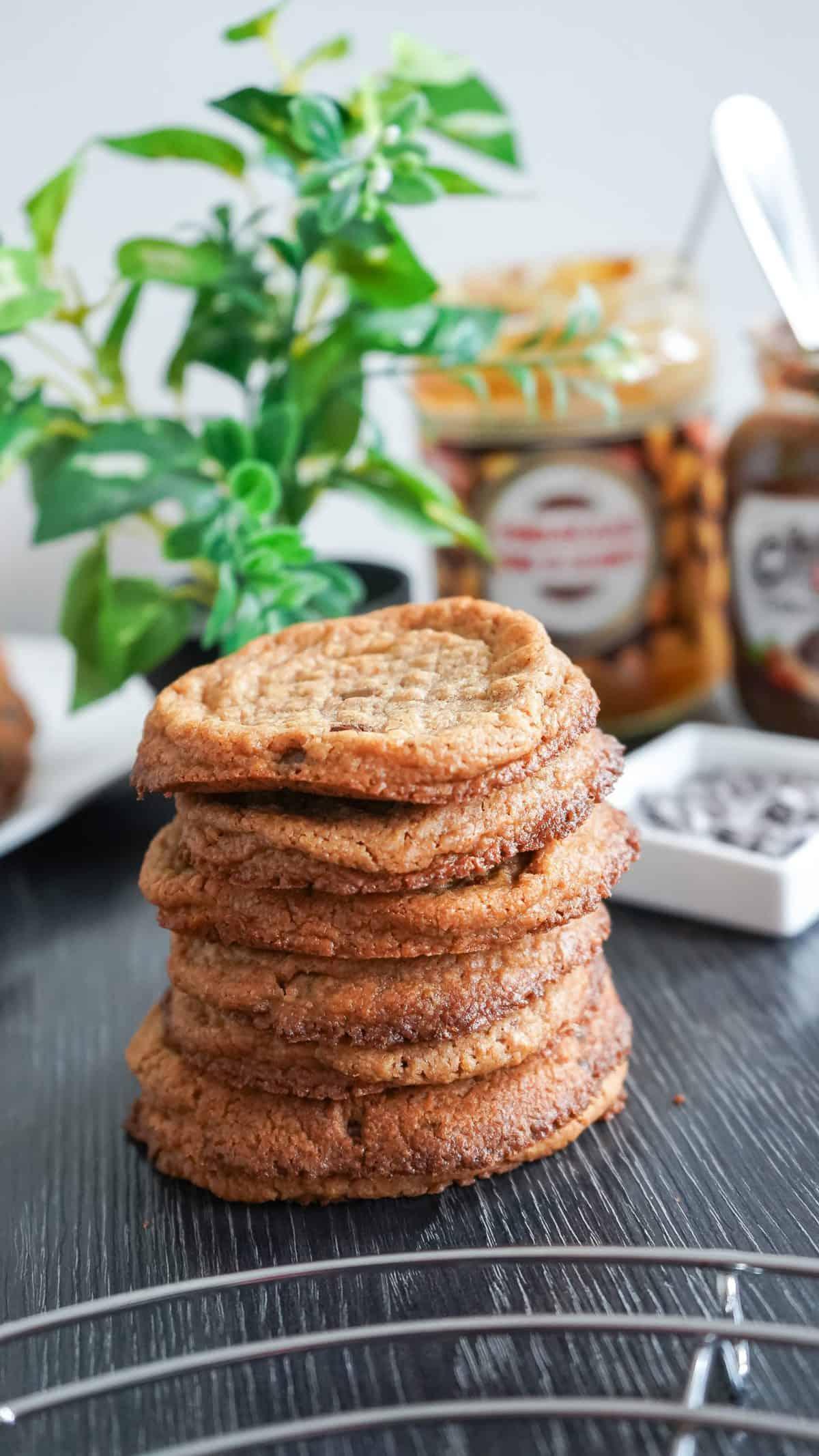 lekkere Chocolade chips koekjes van pindakaas en chocolade