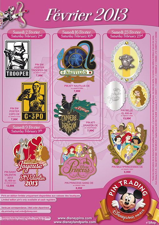 Disneyland Paris Pins for February 2013 – Star Wars, Beasts & Princesses