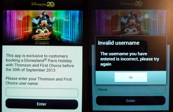 Disneyland Pais App User Name Entry Screen