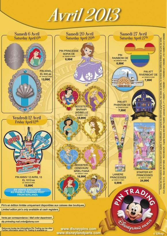 Disneyland Paris Pins for April 2013