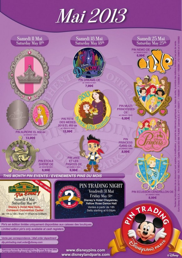 Disneyland Paris Pins for May 2013 – Even More Princesses, Dreams!, a Pirates, a Fish & a Sheriff
