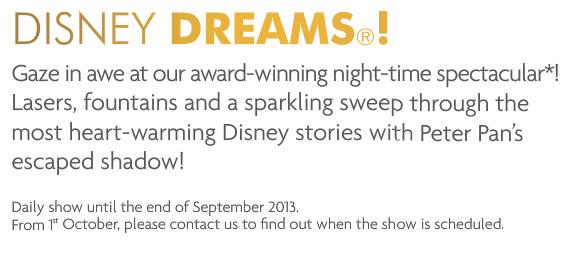 No Daily Dreams! in Disneyland Paris from October