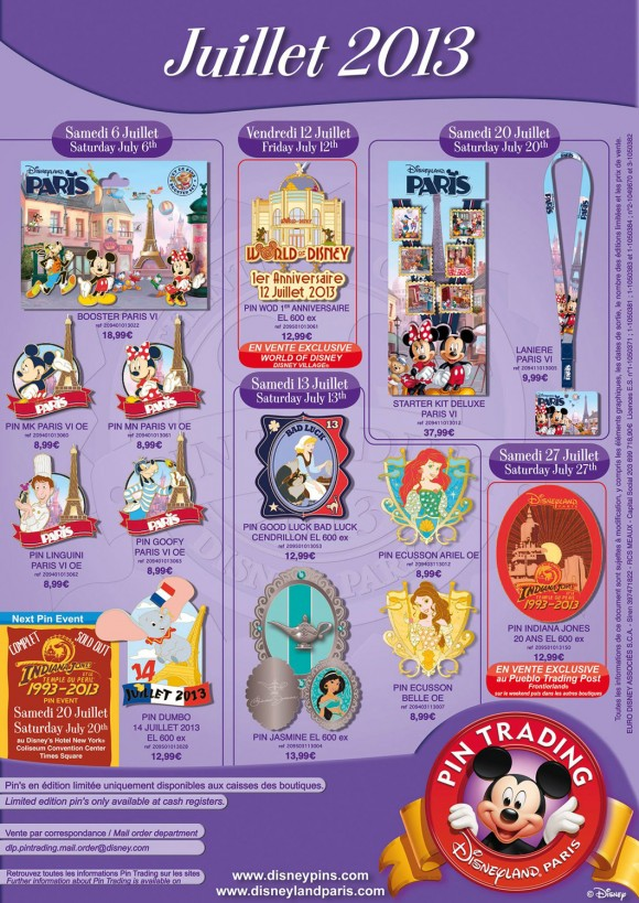 Disneyland Paris Pins for July 2013