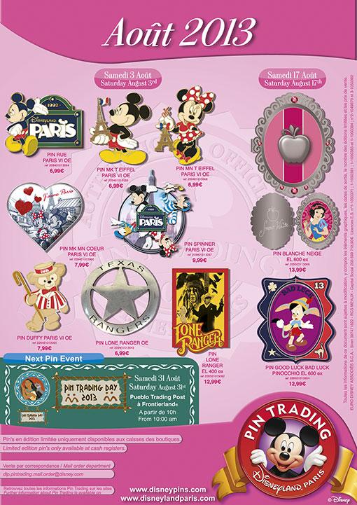 Disneyland Paris Pins for August 2013. A Whole Lot of Paris, A Princess, A Ranger & A Liar